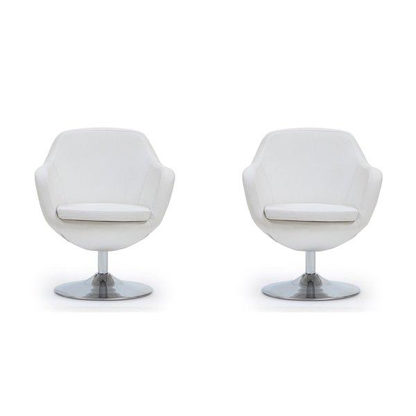 Ensemble de 2 chaises pivotantes moderne en chrome poli Caisson en similicuir blanc de Manhattan Comfort