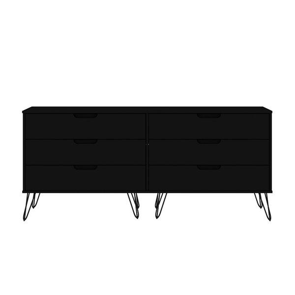 Commode double Rockefeller noire à 6 tiroirs par Manhattan Comfort