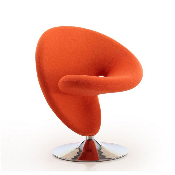 Chaise pivotante Curl moderne en chrome poli et laine orange de Manhattan Comfort
