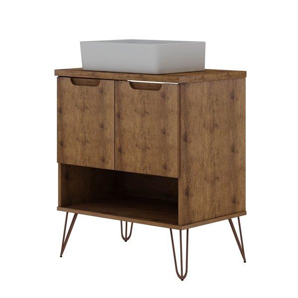 Meuble-lavabo simple de 26,38 pouces Rockefeller par Manhattan Comfort avec comptoir en bois naturel