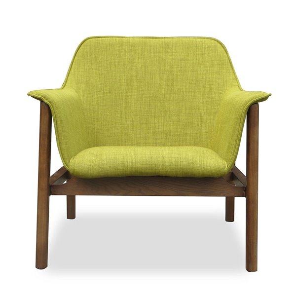 Chaise pivotante Miller en lin vert et noyer de Manhattan Comfort