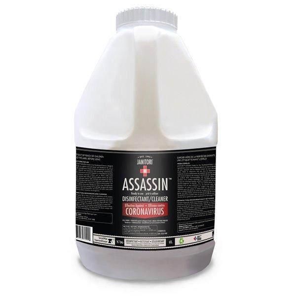 Nettoyant tout usage et désinfectant à vaporiser et essuyer Assassin de JANITORI, format 135,26ozliq
