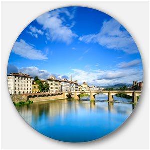 DesignArt 23-in x 23-in Round Ponte Alle Grazie Florence Italy' Extra Seashore Metal Circle Art