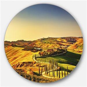 DesignArt 23-in x 23-in Round Crete Senesi Rural Tuscany' Oversized Wall Art Print