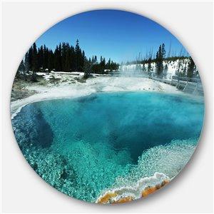 DesignArt 29-in x 29-in Fantastic Blue Yellowstone Lake Landscape Wall Art on Metal Wall