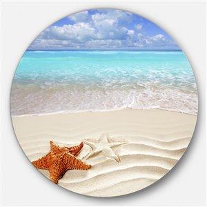 DesignArt 11-in x 11-in Brown Starfish on Caribbean Beach Seascape Metal Circle Art