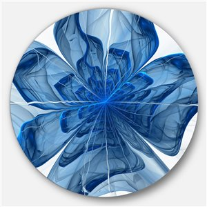 DesignArt 29-in x 29-in Blue Fractal Flower with Large Petals Floral Metal Circle Wall Art