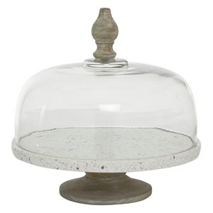 Grayson Lane 12-in x 12-in Contemporary Cake Stand with Cloche in White Glass and Iron