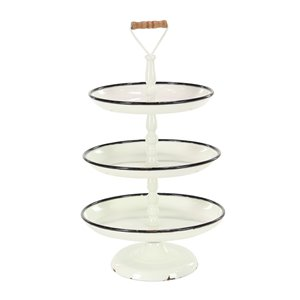 25 In. x 15 In. Farmhouse 3 Tier Tray Stand White Iron