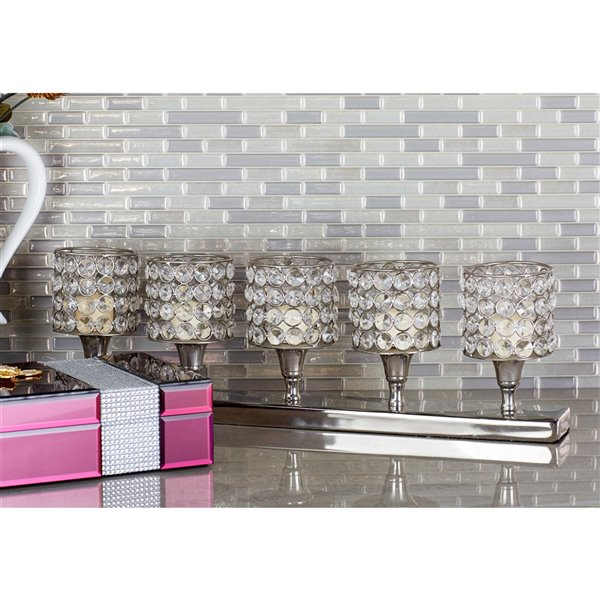 6-in x 21-in Glam Candle Holder Silver Aluminum