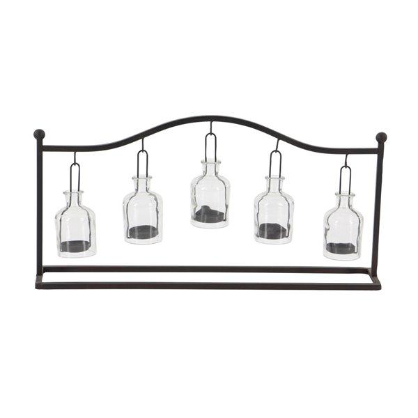 12-in x 24-in Farmhouse Candle Holder Lantern Black Iron