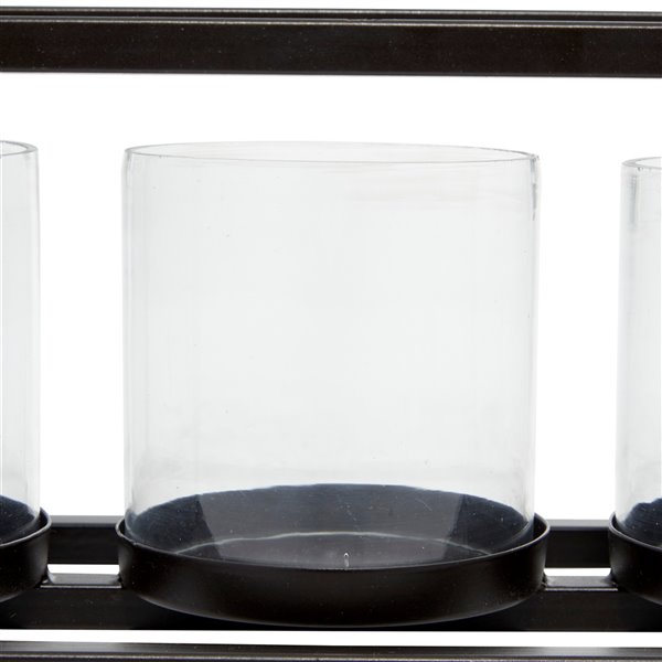 5-in x 18-in Contemporary Candlestick Holders Black Iron