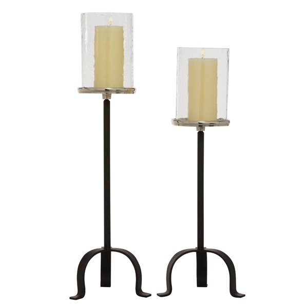 23-in x 26-in Black Traditional Hurricane Lamp Aluminum - Set of 2