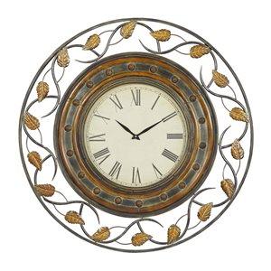 36 In. x 36 In. Rustic Wall Clock Brown Metal
