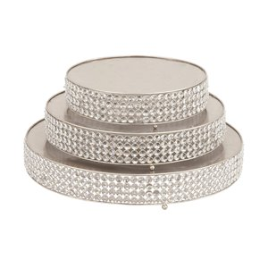 Set of 3 14 In., 18 In., 22 In. Silver Glam Cake Stand Metal