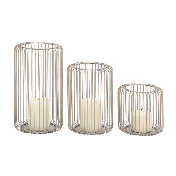 6-in x 9-in x 12-in Modern Lantern Silver Metal - Set of 3