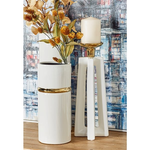 12-in x 14-in Modern Candle Holder White Ceramic - Set of 2