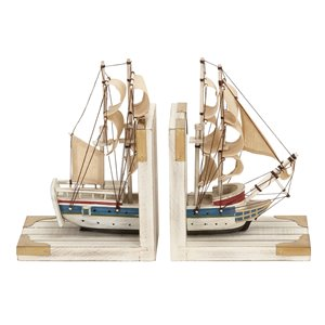 Set of 2 9 In. x 6 In. White Coastal Sailboat Bookends Wood