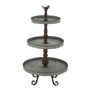 28 In. x 16 In. Farmhouse 3 Tier Tray Stand Silver Iron