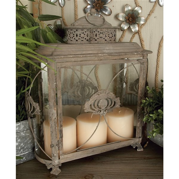 18-in x 15-in Rustic Candle Holder Lantern Brown Iron