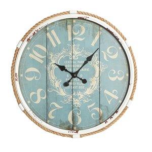 25 In. x 25 In. Coastal Wall Clock Turquoise Metal