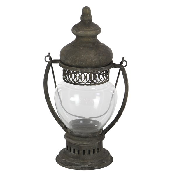 14-in x 8-in Rustic Candle Holder Lantern Brown Iron