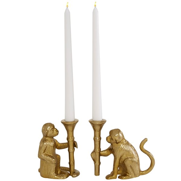 3-in x 5-in Glam Candle Holder Gold Aluminum - Set of 2
