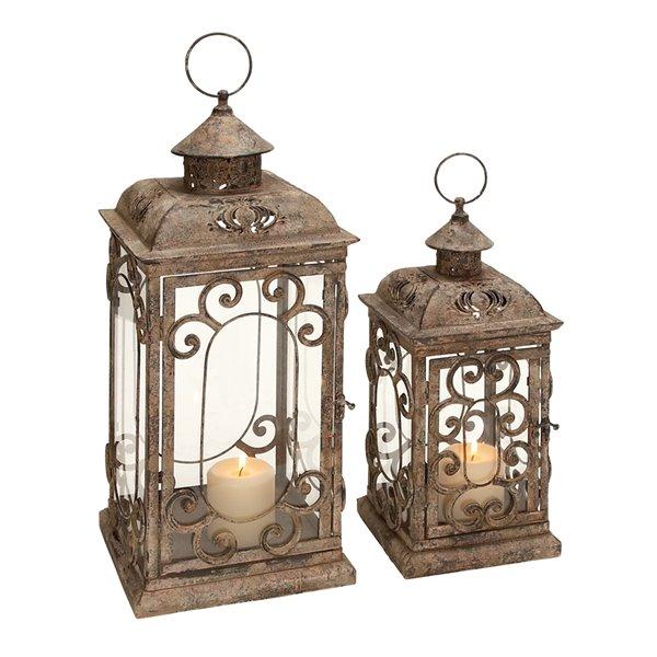 20-in x 15-in Rustic Lantern Brown Metal - Set of 2