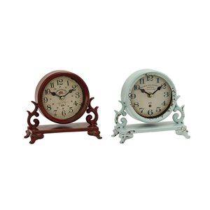 7 In. x 7 In. Vintage Clock Beige Metal