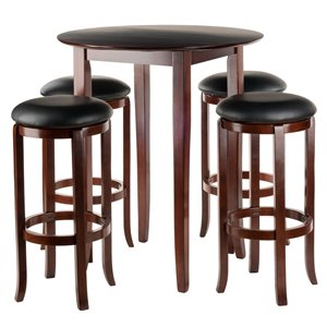 Winsome Wood Egan 5-Piece Table with 2-24-in Square Legs Stools and 2 Baskets