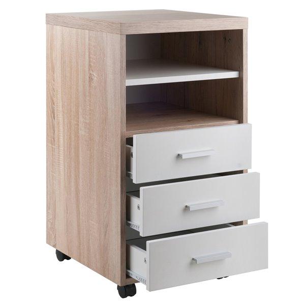Meublede bureau Kenner par Winsome Wood à 1 étagère en bois de récupération et blanc