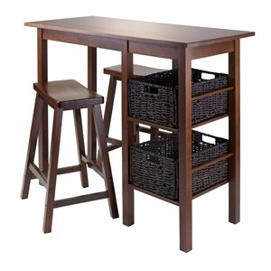 Winsome Wood Fiona Round 5-Piece High/Pub Table Set with PVC Stools