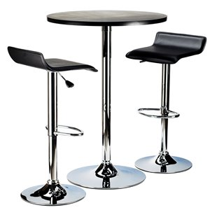 Table et tabourets Spectrum de Winsome Wood en noir/metal