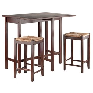 Winsome Wood 3-Piece Inglewood High/Pub Dining Table with Saddle Stool