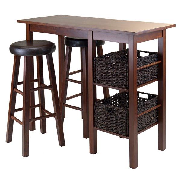Table et tabourets Egan de Winsome Wood  en noyer/chocolat