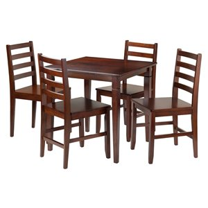 Winsome Wood Egan 5-Piece Breakfast Table with 2 Baskets and 2 Swivel Stools