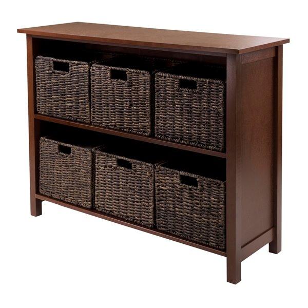 Bibliothèque Granville de Winsome Wood standard, 2 étagères en bois, noyer / chocolat