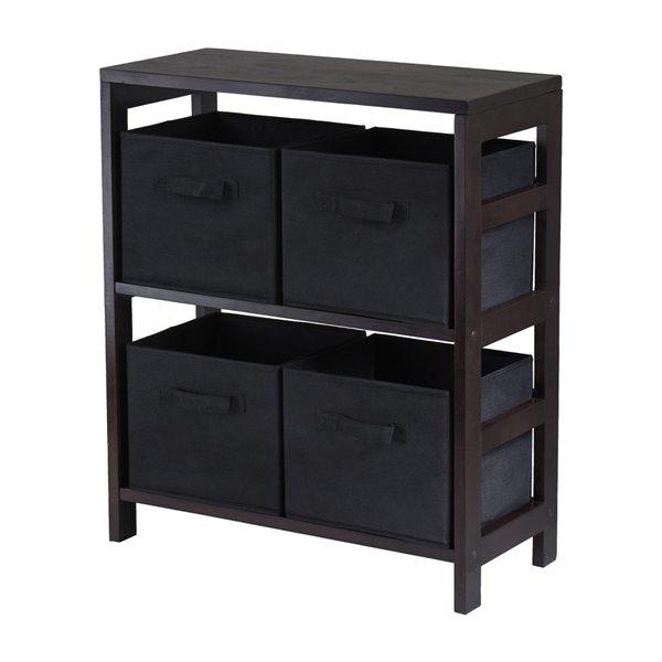 Bibliothèque standard Capri de Winsome Wood standard à 2 étagères en bois noir, fini Espresso