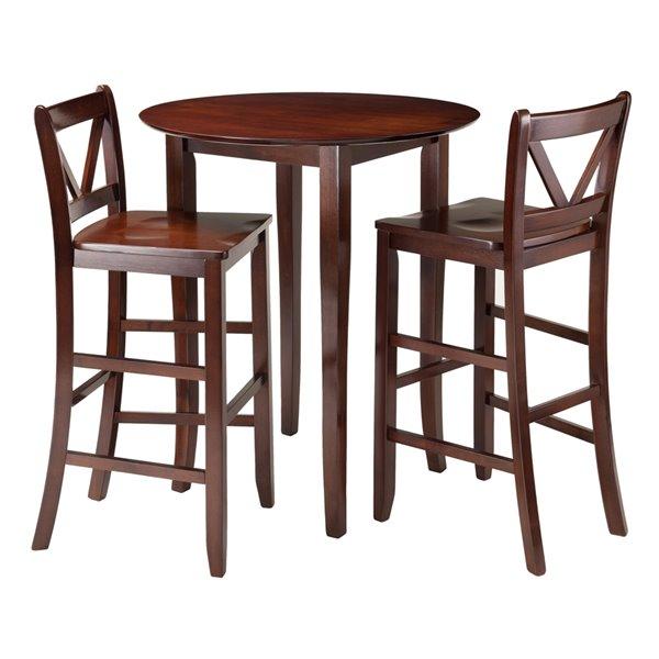 Winsome Wood Lynnwood 3-Piece High Drop Leaf Table Set