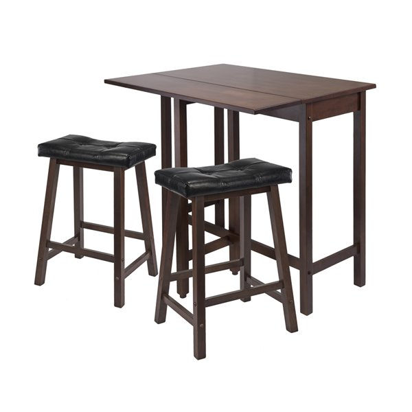 Winsome Wood Inglewood 3-Piece High Table with 2 Bar V-Back Stools
