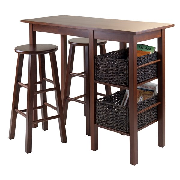 Winsome Wood Egan 5-Piece Breakfast Table with Baskets and Saddle Seat Stools