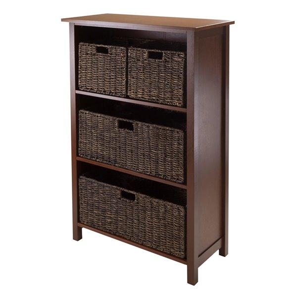 Bibliothèque standard Granville de Winsome Wood, à 3 étagères en bois, noyer