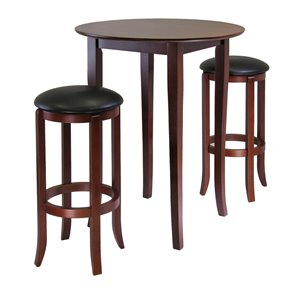 Winsome Wood Egan 5-Piece Table with 2-24-in Round Cushion Stools and Baskets