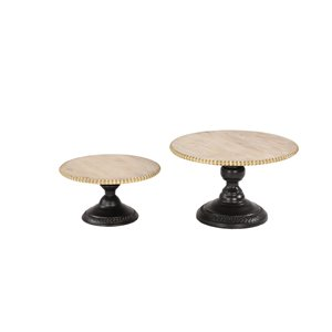 Grayson Lane Set of 2 13-in, 11-in Light Brown Rustic Cake Stand - Metal