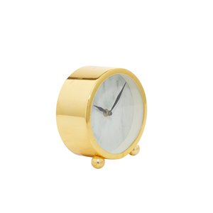 Grayson Lane Analog 5-in x 5-in Gold Round Tabletop Standard Clock
