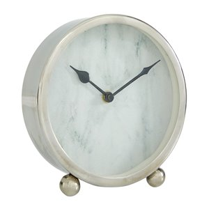 Grayson Lane Analog 6-in x 6-in Silver Round Tabletop Standard Clock