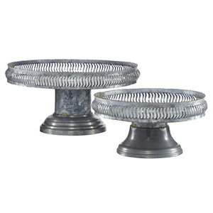 Grayson Lane Set of 2 16-in, 12-in Grey Farmhouse Cake Stand - Metal