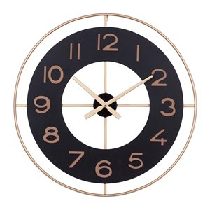 Grayson Lane Analog 27.5-in x 27.5-in Gold Round Wall Standard Clock