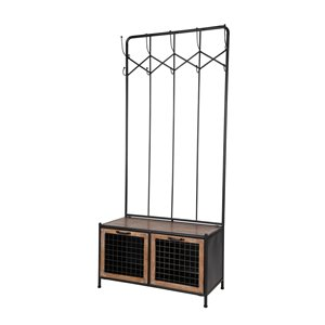 Grayson Lane 71-in x 31-in Black 10-Hook Coat Stand with Bench