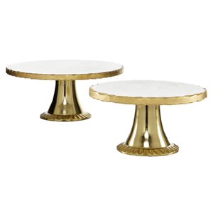 Grayson Lane Set of 2 12-in, 10-in Gold Natural Cake Stand - Stoneware